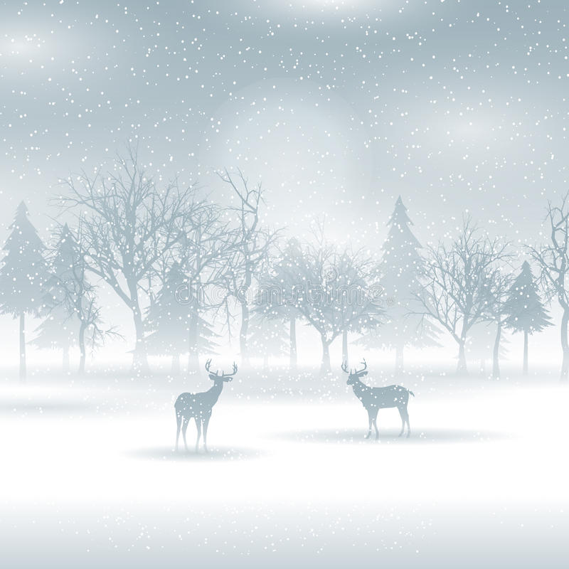 在冬天风景的鹿 库存例证