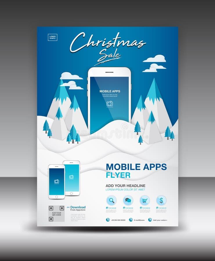 在冬天风景背景的流动阿普斯飞行物模板 企业小册子飞行物设计版面 智能手机象大模型,海报 向量例证