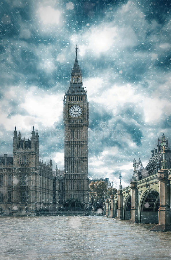 在冬天,英国期间,大本钟在伦敦 库存照片