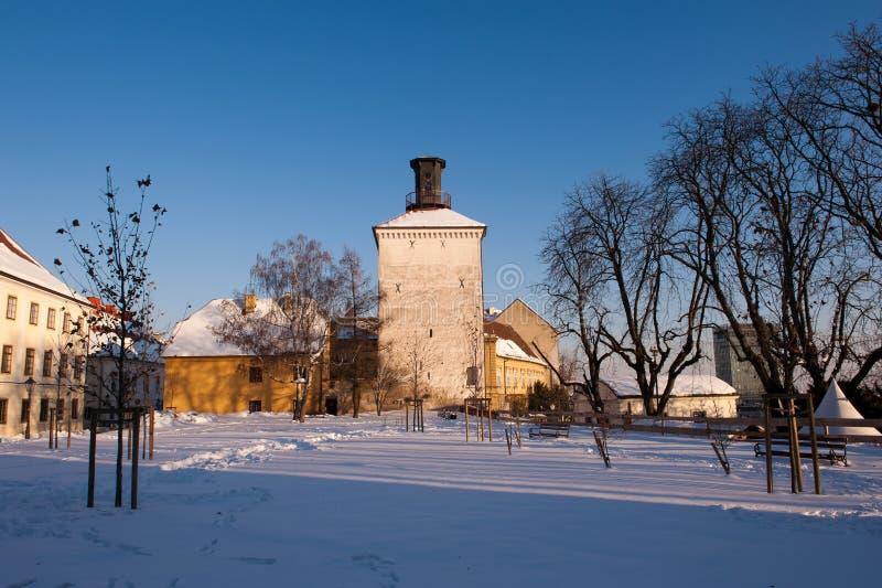 在冬天,萨格勒布上部镇,克罗地亚期间,塔Lotrscak 免版税图库摄影