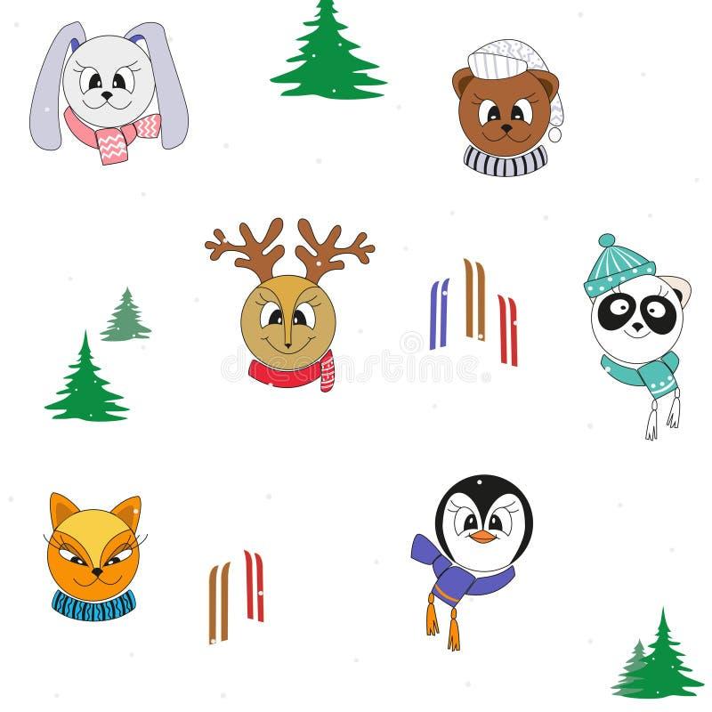 在冬季衣服的动画片逗人喜爱的动物 传染媒介无缝的颜色圣诞节样式 皇族释放例证