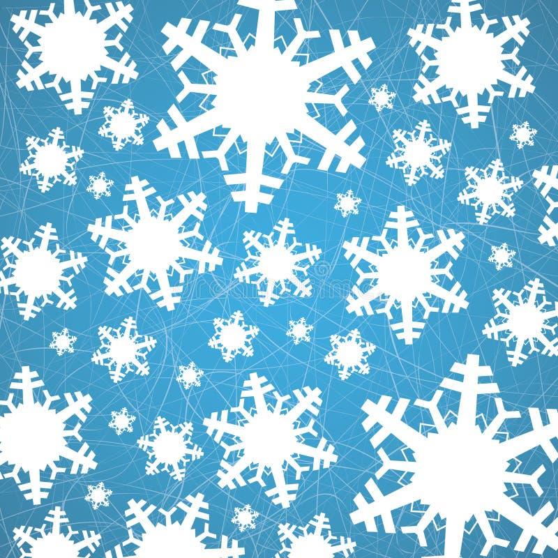 在冰与犁沟-圣诞节背景的雪花 向量例证