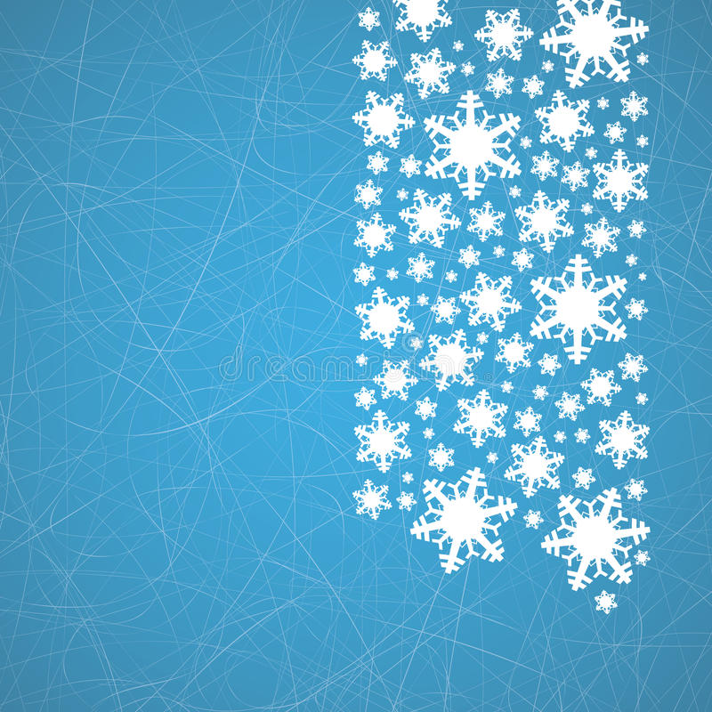 在冰与犁沟-圣诞节背景的雪花 库存例证
