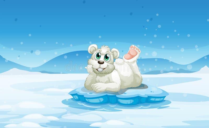 在冰山上的一头北极熊 向量例证