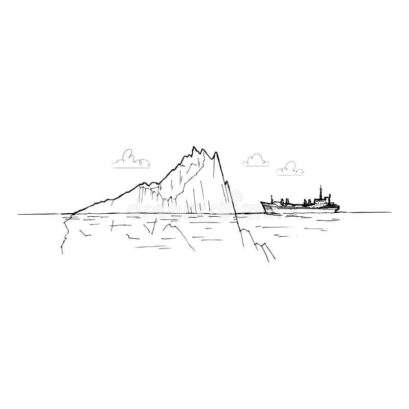 在冰山之中的船 皇族释放例证