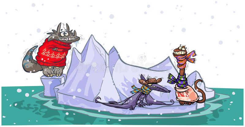 在冰山的动画片恐龙。 库存例证