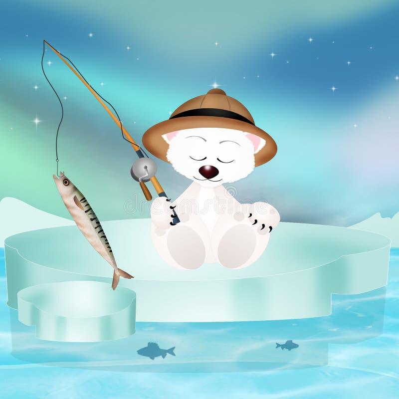 在冰山的北极熊渔 皇族释放例证