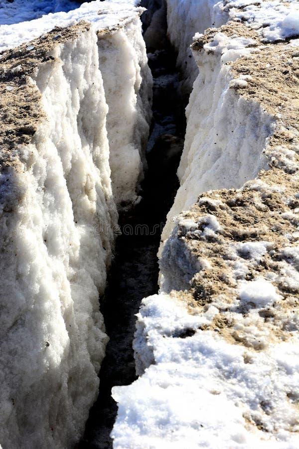 在冰山的大冰裂缝 免版税库存图片