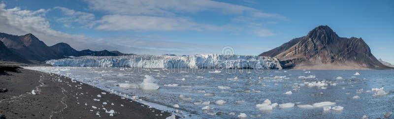 在冰川前面的小冰山 免版税库存图片