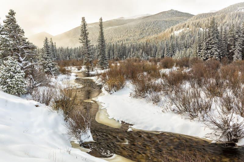 在冰川小河的春天雪 免版税库存照片