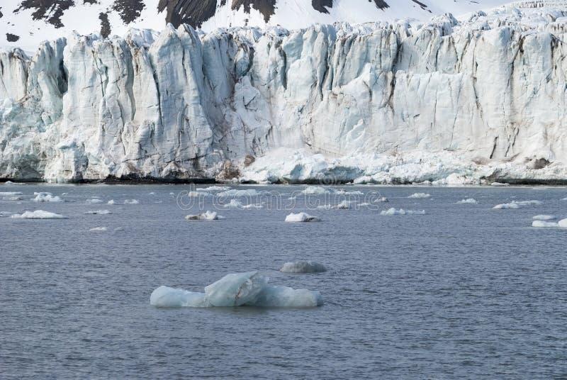 在冰川,斯瓦尔巴特群岛前面的冰山,北极 库存图片
