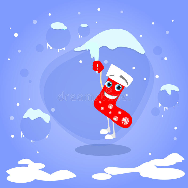 Download 在冰柱动画片的圣诞节红色袜子吊 向量例证. 插画 包括有 徽标, 看板卡, 表面, 眼睛, 帮助, 存在 - 62525506