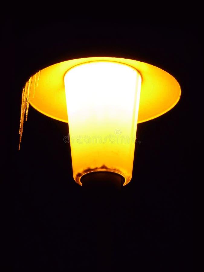 在冰柱盖的街灯 免版税库存图片