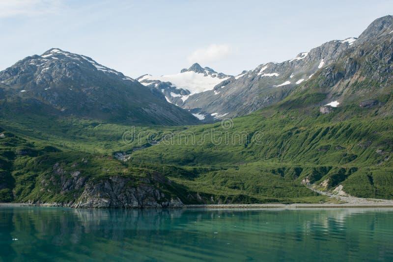 在冰河海湾,阿拉斯加的豪华的山 库存图片