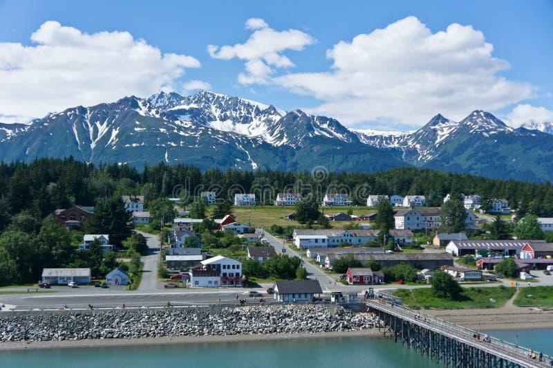 在冰河海湾,阿拉斯加,美国附近的Haines市 免版税库存照片