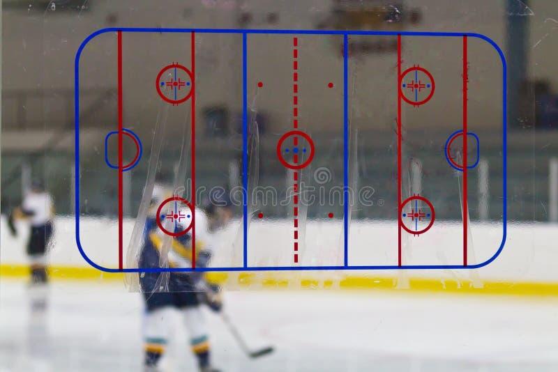 在冰球竞技场的溜冰场图 免版税库存照片