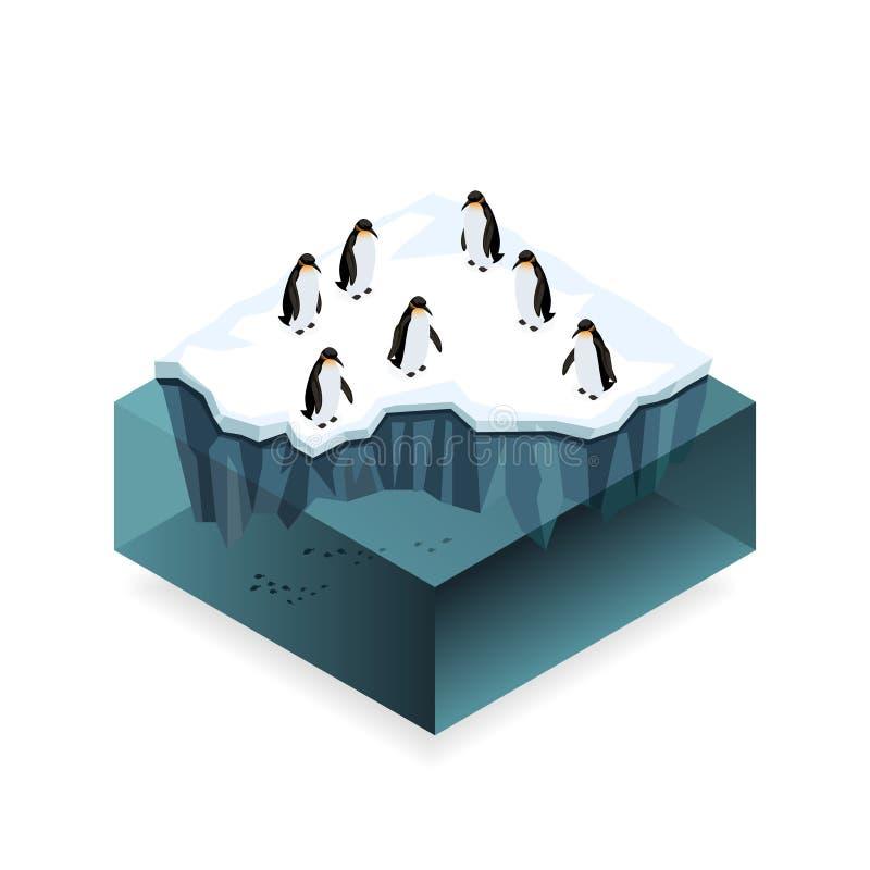 在冰的企鹅在公海等量概念 向量例证
