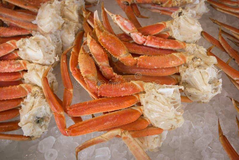 在冰的巨蟹腿 免版税库存图片