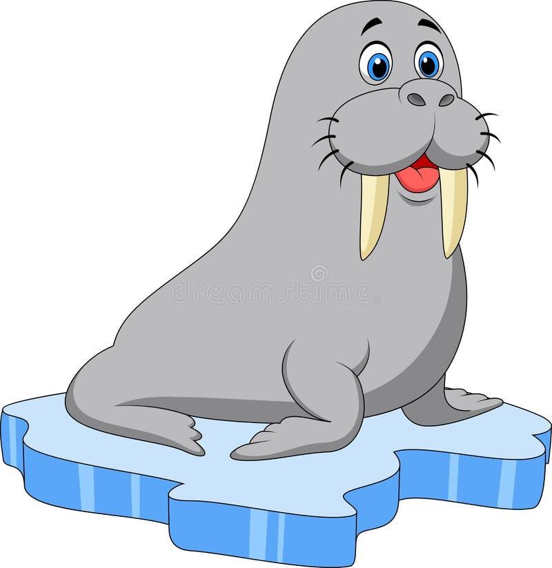 在冰的逗人喜爱的海象动画片 皇族释放例证
