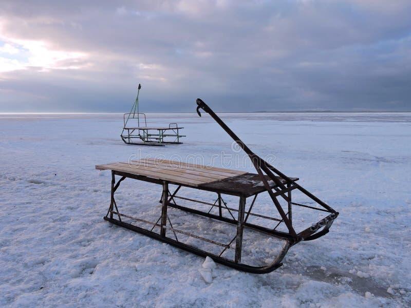 在冰的雪撬 免版税库存照片