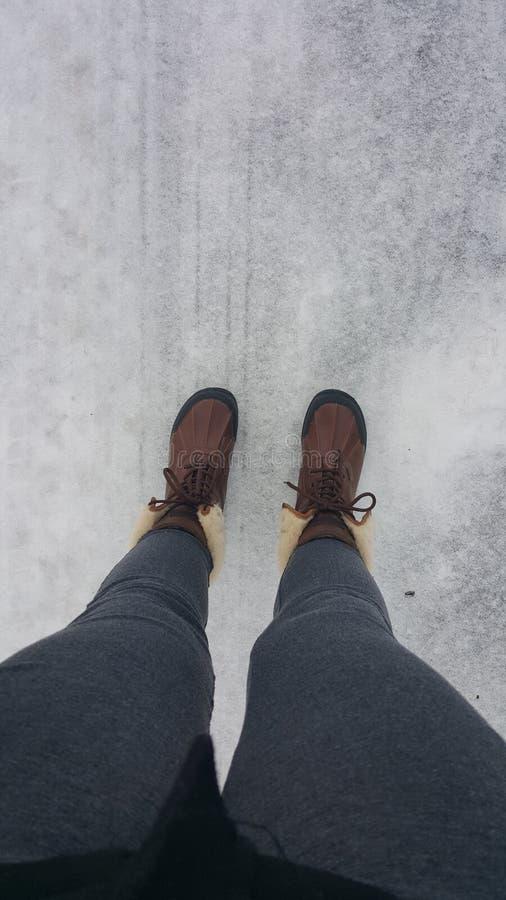 在冰的Uggs 库存照片
