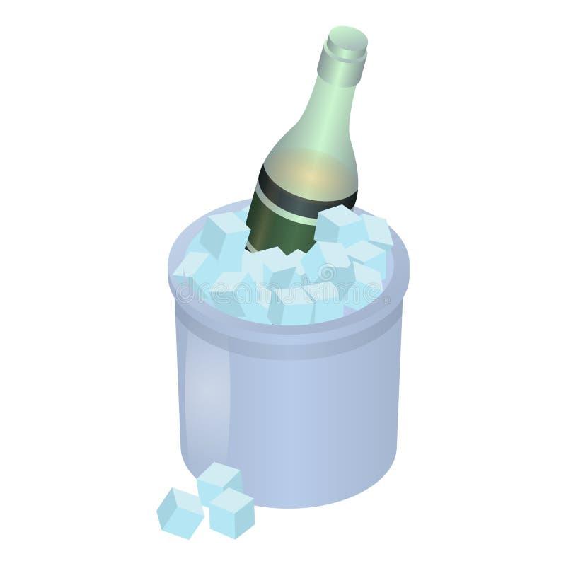 在冰盒象,等量样式的香宾 库存例证
