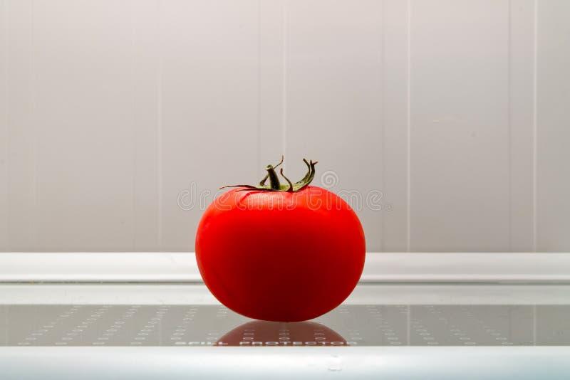 在冰箱的蕃茄 库存照片