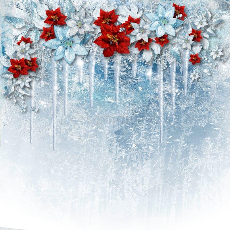 在冰背景的圣诞节华美的花与冰柱 招呼 向量例证