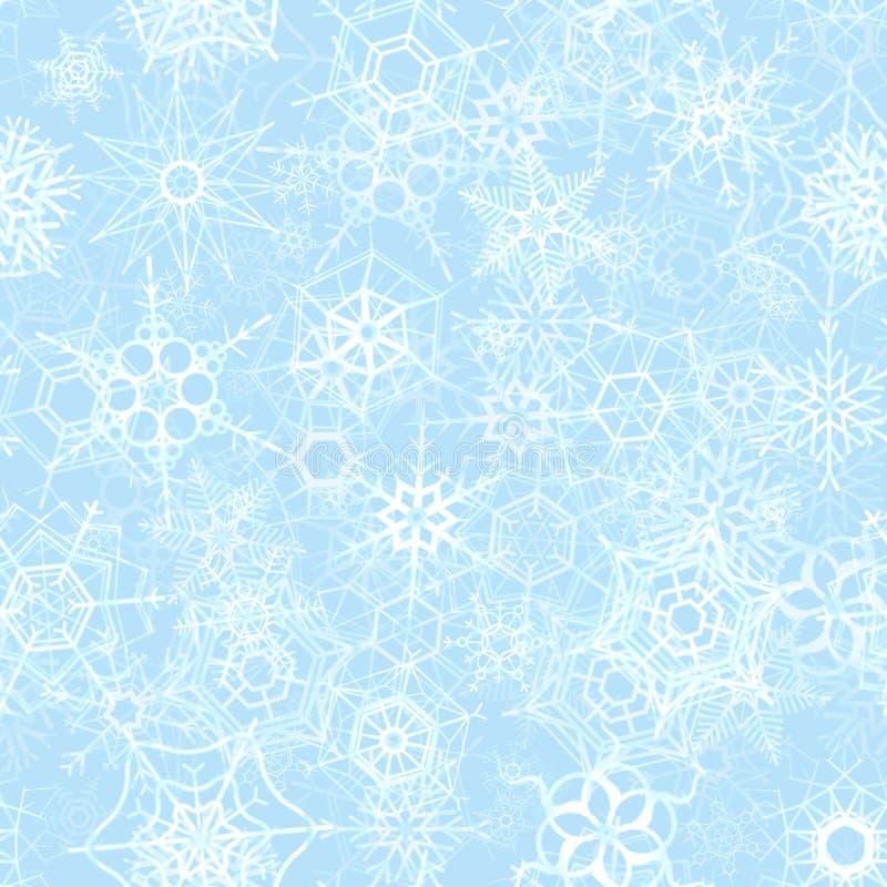在冰背景,冬天无缝的样式的冻雪花 库存例证