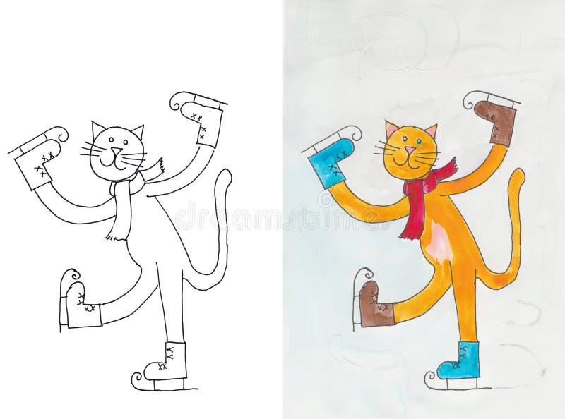 在冰鞋的猫 库存例证