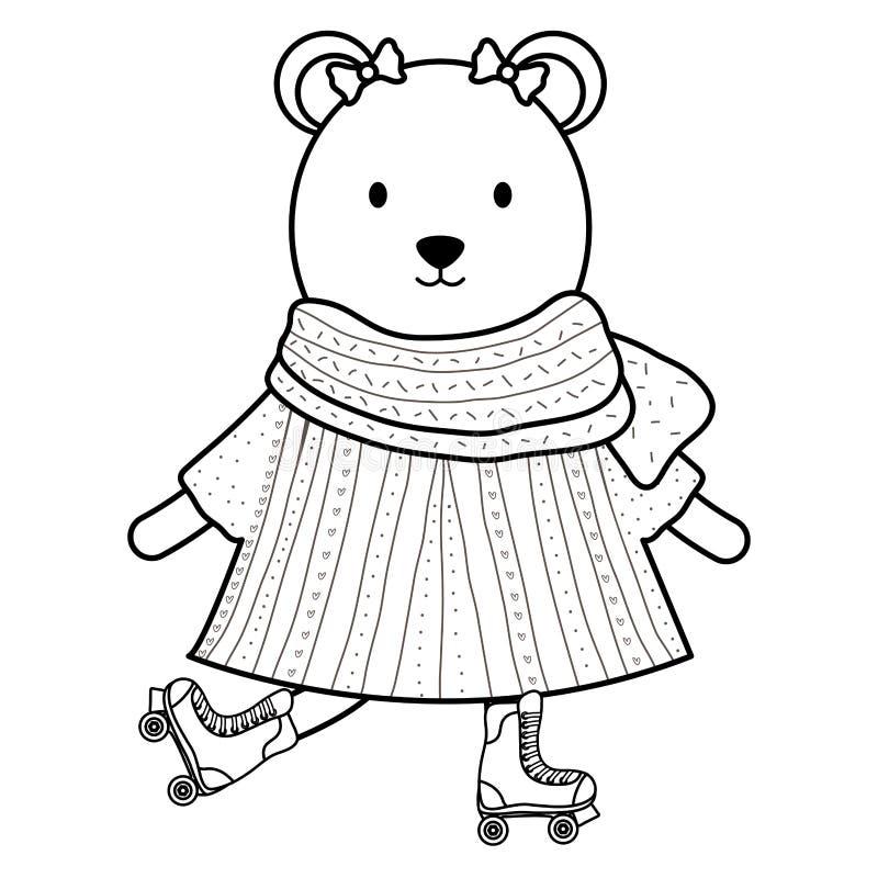 在冰鞋的逗人喜爱的女性北极熊 皇族释放例证