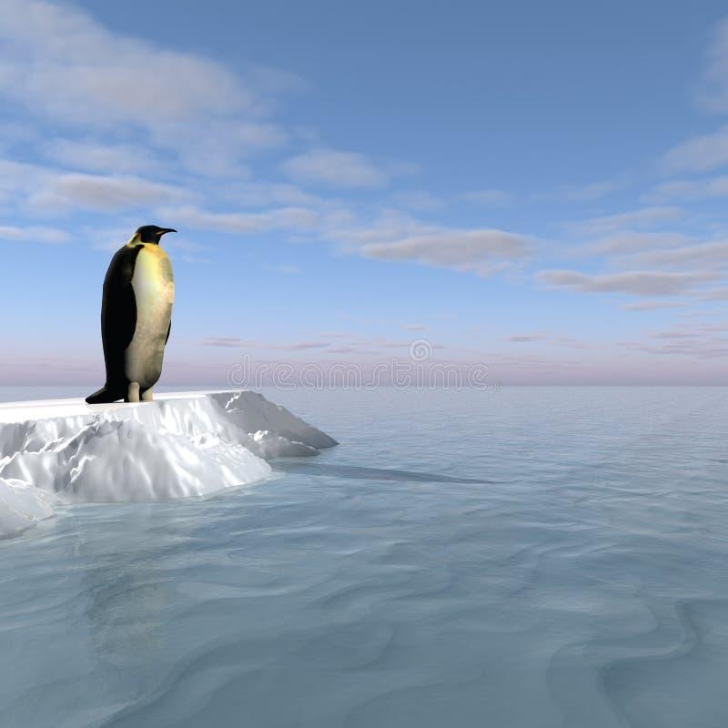 在冰-数字式艺术品的南极企鹅 向量例证