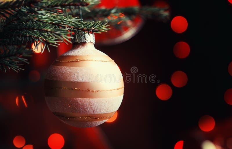 在冷杉分支和ligh背景的金黄圣诞节球  图库摄影