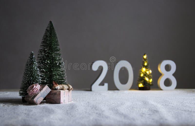 在冷杉木下的领域在距离是图2018年在一棵圣诞树的角色与光的地方 免版税图库摄影
