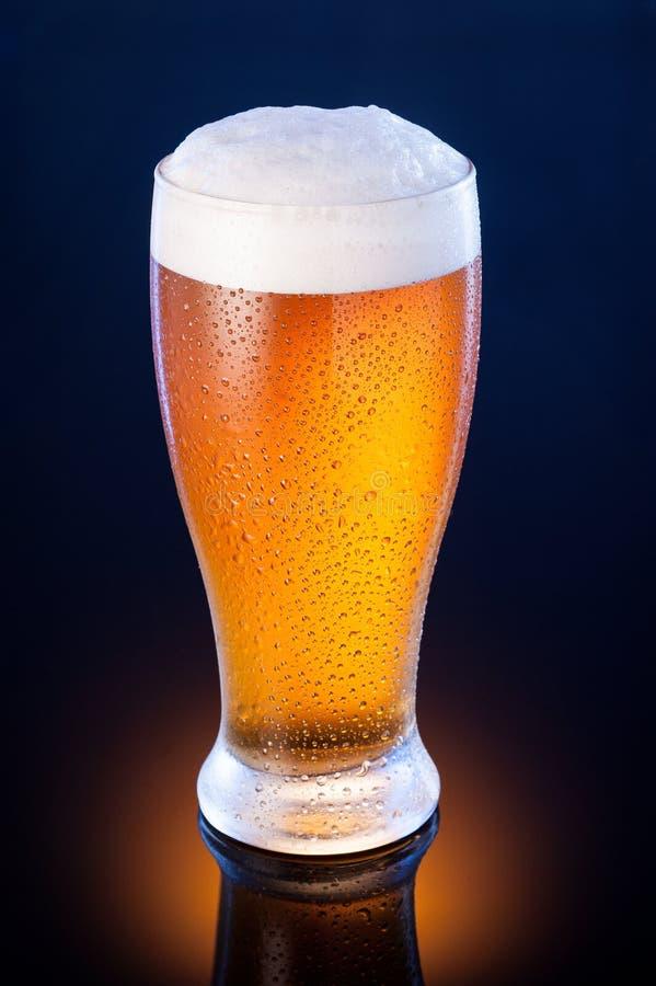 在冷淡的玻璃的低度黄啤酒在深蓝背景 免版税库存图片