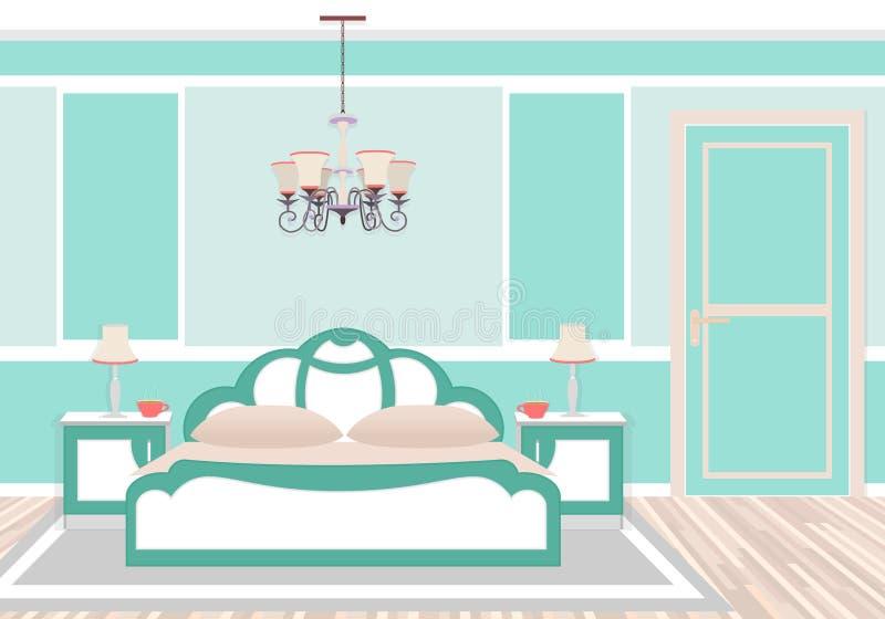 在冷的颜色的经典卧室内部 皇族释放例证