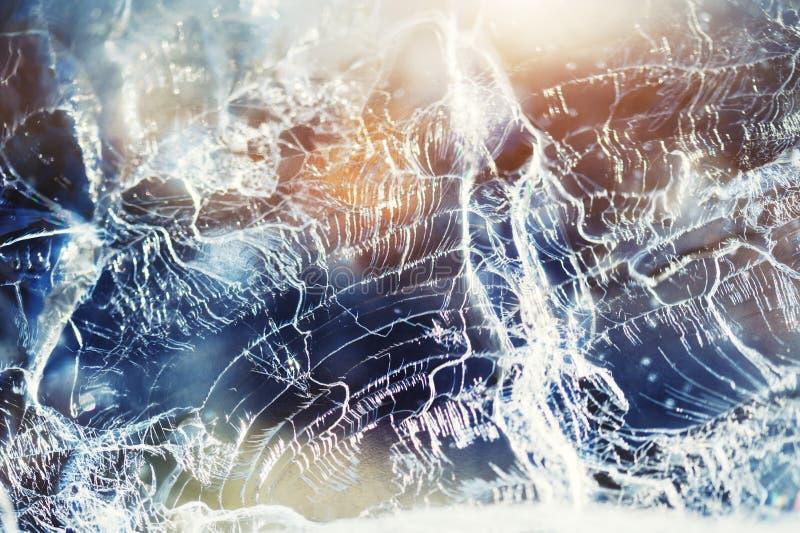 在冻湖的冰 宏观图象,浅景深 免版税图库摄影