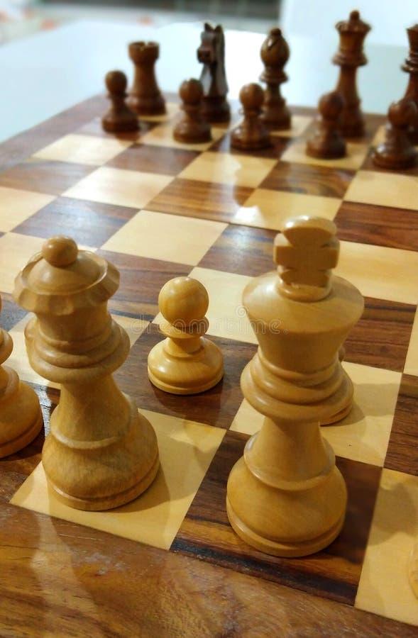 在准备好的棋盘的传统棋子使用 库存照片