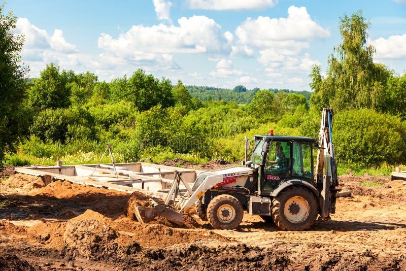 在准备PR的建造场所和房子基础看法  库存图片