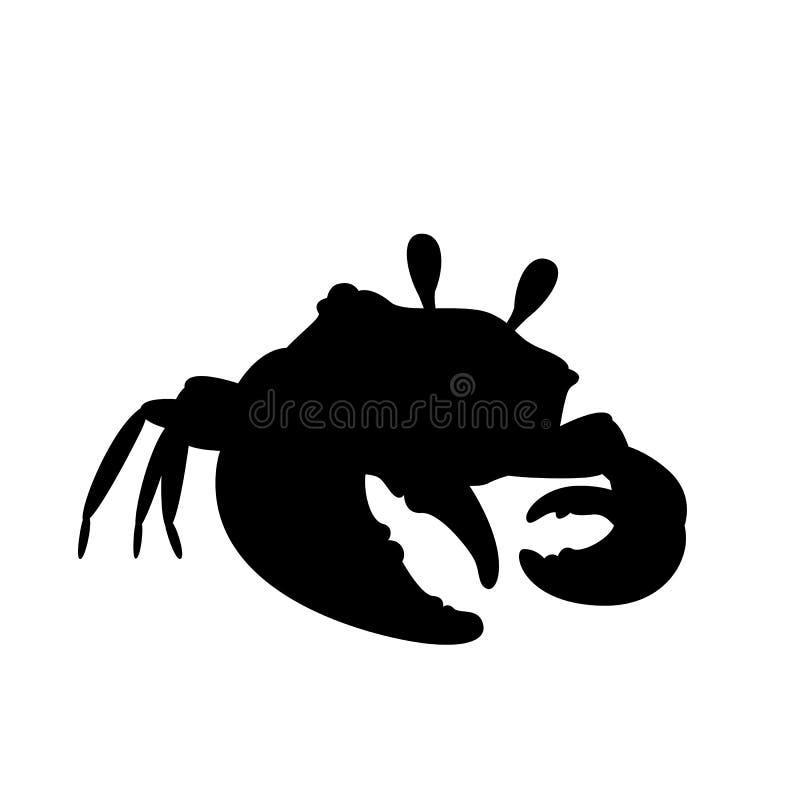 在凉快的姿势剪影的螃蟹 向量 向量例证