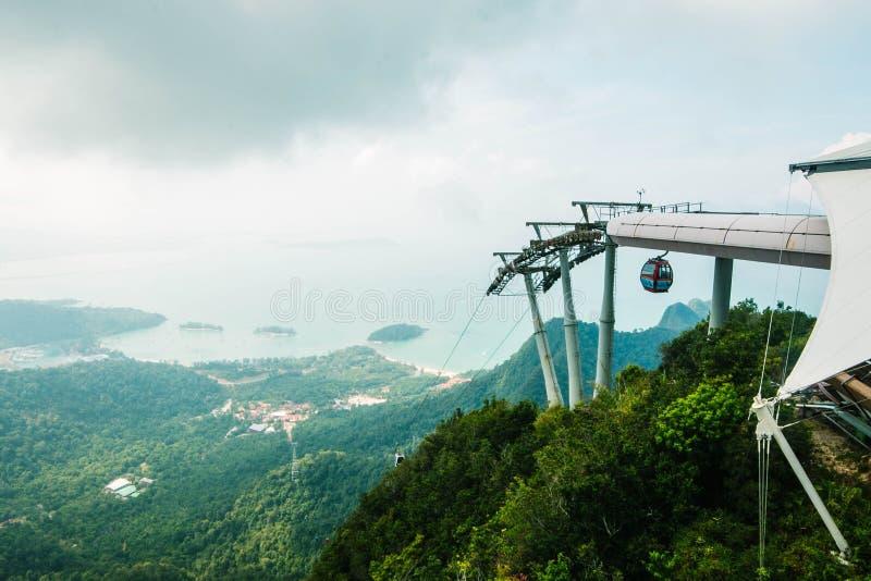 在凌家卫岛海岛上面和天空蔚蓝、海和山,马来西亚全景的电车  凌家卫岛SkyCab是一个  图库摄影