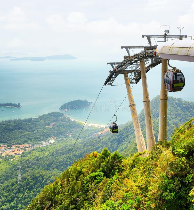 在凌家卫岛海岛,马来西亚上的缆车 免版税库存图片