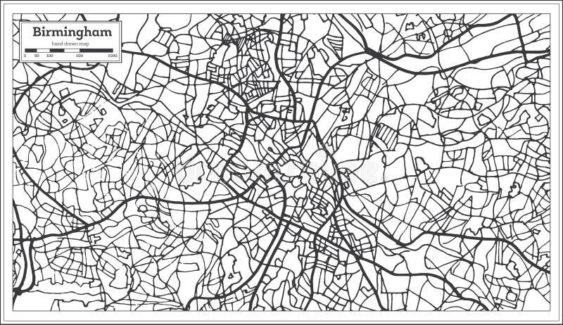 在减速火箭的样式的伯明翰英国市地图 黑白向量例证 库存例证