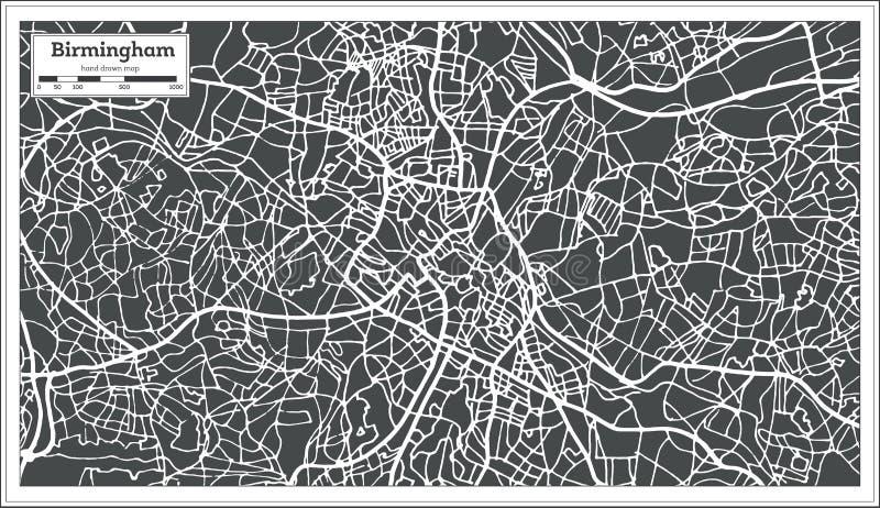 在减速火箭的样式的伯明翰英国市地图 皇族释放例证