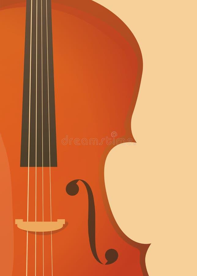 在减速火箭的样式的垂直的横幅与无意识而不停地拨弄、小提琴或者大提琴音乐会或节日的,交响乐表现 库存例证
