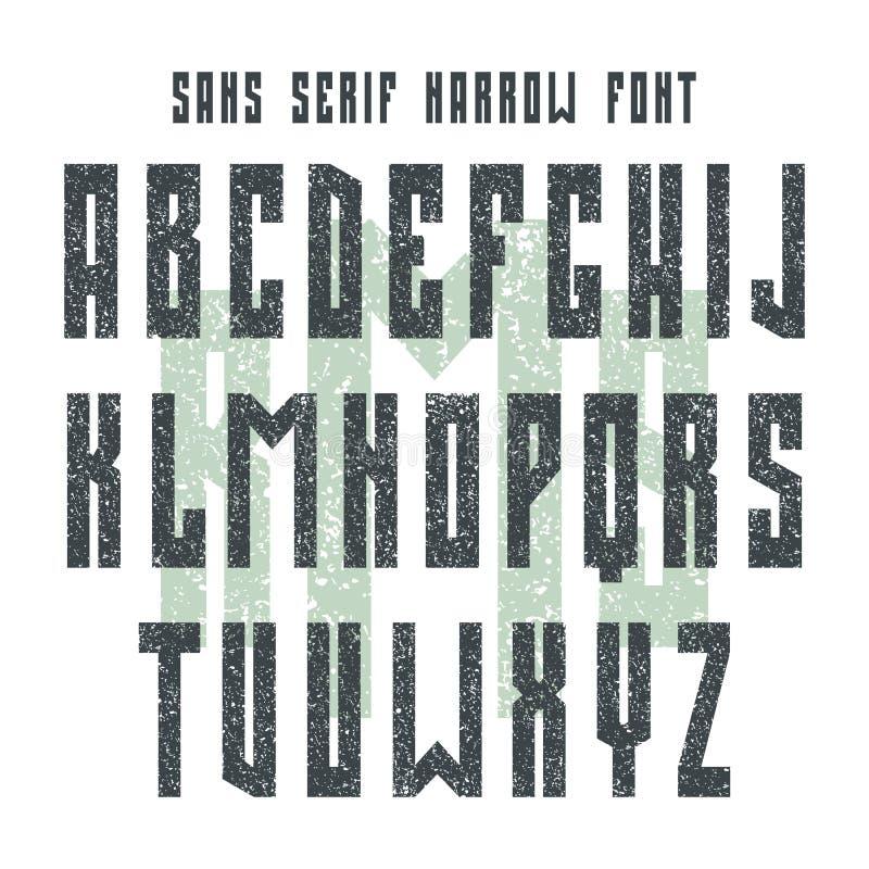 在减速火箭的样式的大胆的Sans Serif字体 向量例证