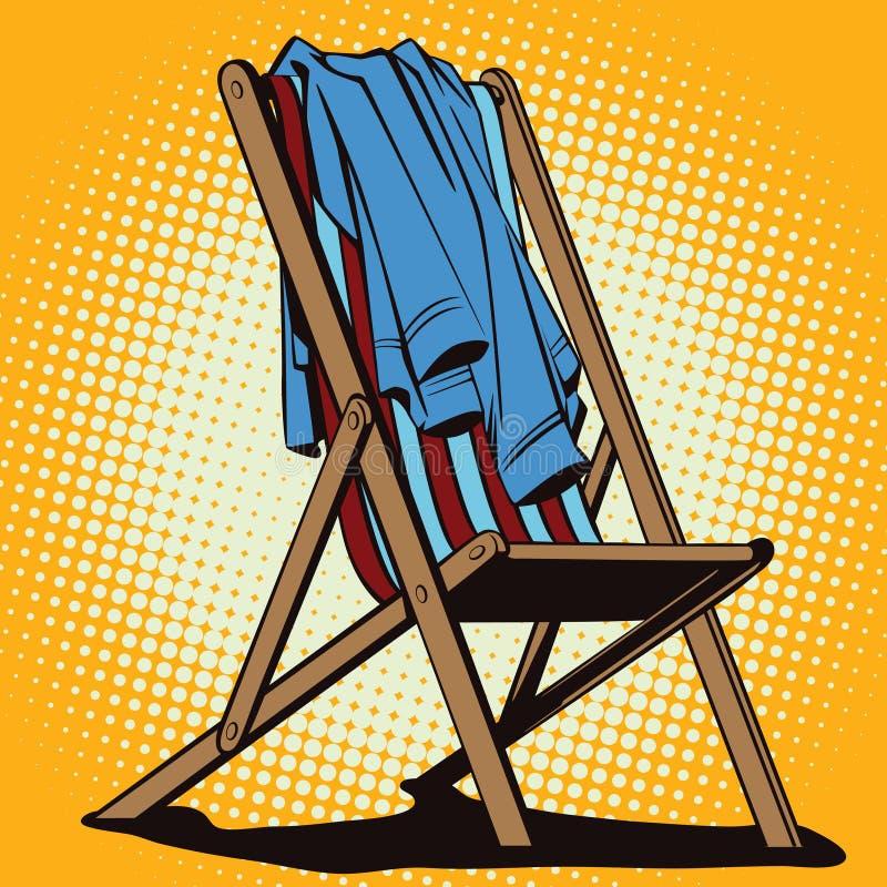 在减速火箭的样式的对象 有放弃的海滩躺椅穿衣 向量例证