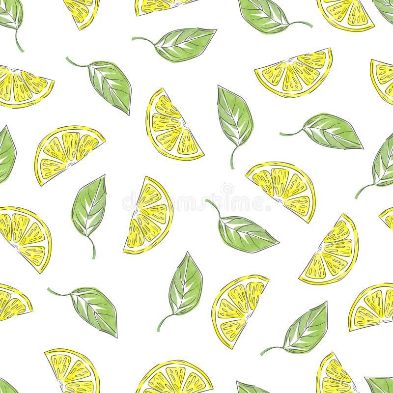在减速火箭的样式的手拉的柠檬样式 库存例证