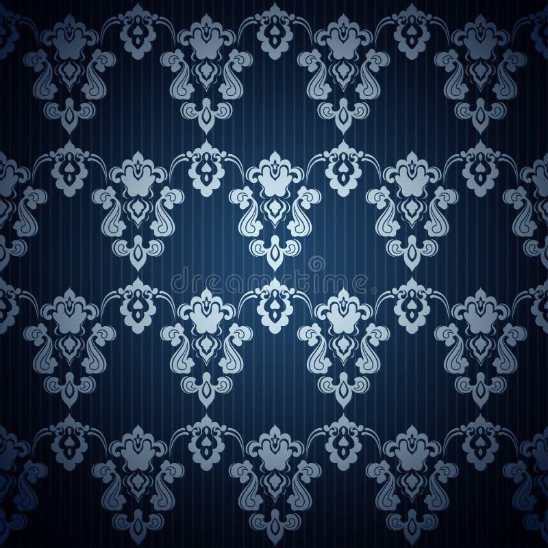 在减速火箭的样式的无缝的深蓝墙纸 向量例证