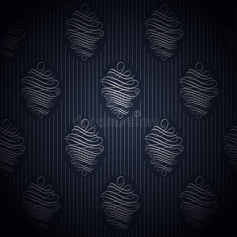 在减速火箭的样式的无缝的深蓝墙纸 库存例证